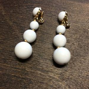 Vintage Monet Milk Glass Earrings